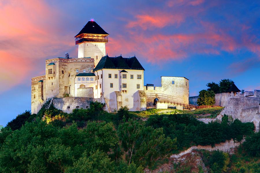 Slovakia Castle - Trencin at sunrise