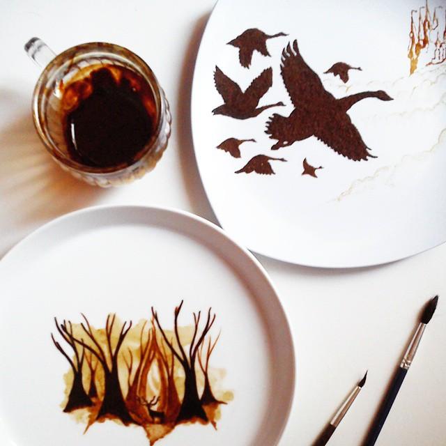 maľby kávou na listy