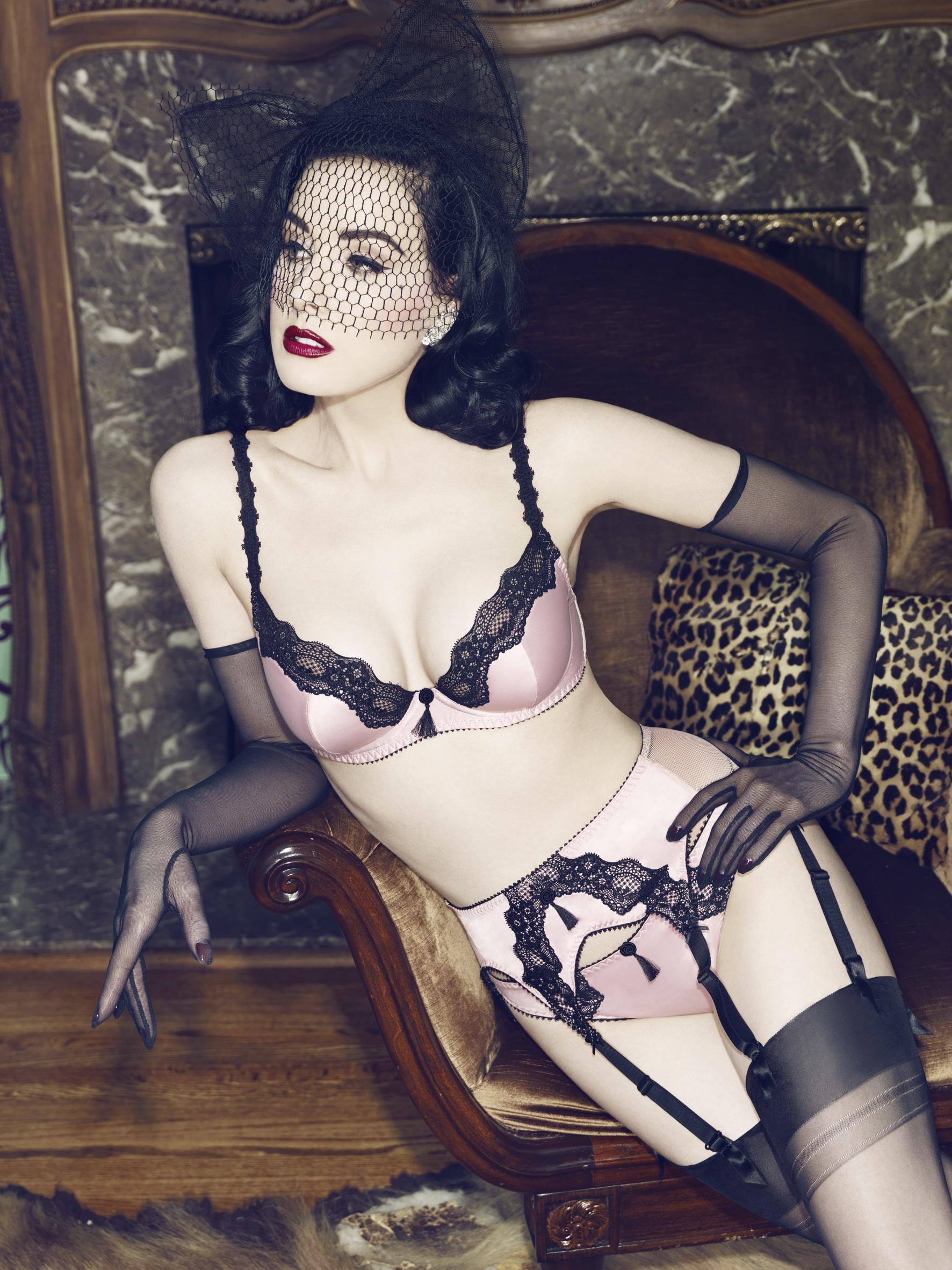208680_Von Follies by Dita Von Teese satin & lace bra, brief and suspender