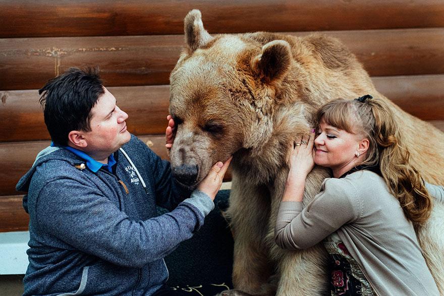 ruský pár adoptoval medveďa (2)