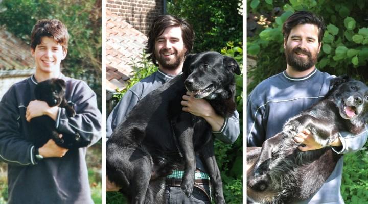 Muž si zopakoval foto so svojim psom po tom, čo mu bola diagnostikovaná rakovina