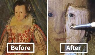 Profík odstránil 200 ročný lak zo 400 ročnej maľby a toto je výsledok